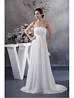 Formal Evening Dress-Ivory A-line Strapless Sweep/Brush Train Chiffon