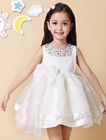 Girl's Cotton Summer Twinkle Neckline Bowknot Full Dress