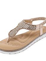 Damenschuhe-Sandalen-Kleid-Kunststoff-Flacher Absatz-Plateau / Fersenriemen-Silber / Gold