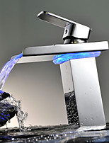 Contemporary Chrome Brass Personalized Single Handle LED Bathroom Sink Faucet - Silver