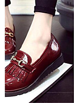 Women's Shoes Leatherette Flat Heel Comfort Loafers Outdoor / Casual Black / White / Burgundy