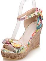 Chaussures Femme-Habillé / Décontracté / Soirée & Evénement-Jaune / Orange-Talon Compensé-Compensées / Bout Ouvert / A Plateau-Sandales-