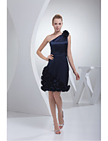 Cocktail Party Dress-Dark Navy A-line One Shoulder Short/Mini Stretch Satin
