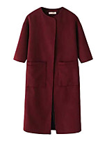 Women's Solid Red / Black Pea Coats,Simple ½ Length Sleeve Polyester