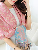 Autumn And Winter National Wind Jacquard Long Fringed Scarves Warm Thick Cherry Shawl