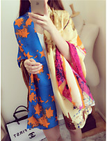 Women Han Edition Twill Shawls Scarf Pentagram Abstract Graffiti Bright Colorful Variety of Knot Silk Scarves