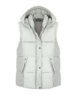 Women's Color Block Blue / White Padded Coat,Simple Hooded Sleeveless