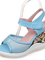 Women's Shoes Tulle Wedge Heel Wedges / Peep Toe Sandals Party & Evening / Dress / Casual Blue / Pink / White
