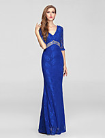 Formal Evening Dress Trumpet/Mermaid V-neck Floor-length Chiffon / Tulle
