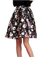 Women's Print Black Skirts,Casual / Day Knee-length