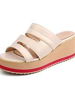 Calçados Femininos-Mocassins-Chinelos-Rasteiro-Branco / Prateado / Dourado-Sintético / Courino-Casual
