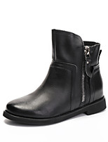 Women's Shoes Cowhide Flat Heel Fashion Boots Boots Outdoor / Dress / Casual Black / Brown