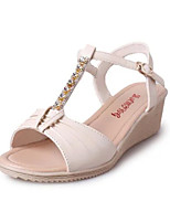 Women's Shoes Leatherette Wedge Heel Peep Toe / Round Toe Sandals Outdoor / Casual Blue / Beige