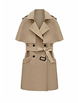 Women's Solid Brown Coat,Simple ½ Length Sleeve Polyester
