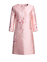 Women's Floral Pink Coat,Simple Long Sleeve Polyester