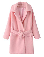 Women's Solid Pink Coat,Simple / Street chic Long Sleeve Polyester