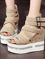 Women's Shoes Wedges Heels/Platform/Creepers Sandals Dress Black/Gray/Almond