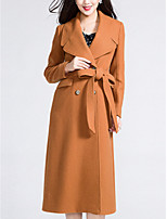 Women's Solid Brown Pea Coats,Simple / Street chic Long Sleeve Wool