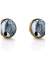 Lureme® Vintage Jewelry Time Gem Series Zebra Antique Bronze Disc Stud Earrings for Women and Girl