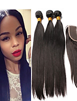 Brazilian Virgin Hair With Closure Straight 4Pcs/Lot 5A Brazilian Virgin Hair Straight Lace Closure With Bundles