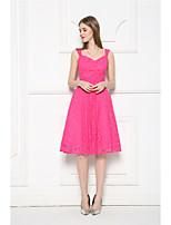 Knee-length Lace Bridesmaid Dress-Fuchsia A-line V-neck