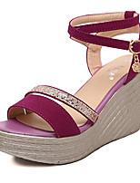 Women's Shoes Fleece Wedge Heel Open Toe Sandals Dress Black / Pink