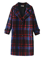 Women's Plaid Blue / Green Pea Coats,Simple Long Sleeve Wool