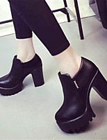 Women's Shoes Leatherette Platform Heels Heels Outdoor / Casual Black