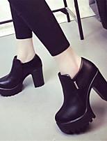 Chaussures Femme-Extérieure / Décontracté-Noir-Plateforme-Talons-Talons-Similicuir