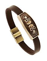 Bronze metal alloy bangle bracelet leather bracelet leather bracelet retro male student bracelet(bracelet)