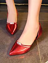 Calçados Femininos-Saltos-Saltos / Bico Fino-Salto Sabrina-Verde / Rosa / Vermelho / Prateado / Dourado-Couro Envernizado / Materiais