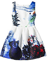Girl's Blue Dress / Skirt,Print Polyester Summer / Spring / Fall