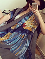 Women Phoenix Auspicious Color Printed Cotton Twill Scarf  Silk Shawl