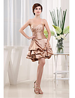 Cocktail Party Dress-Champagne A-line Sweetheart Short/Mini Satin
