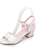 Women's Shoes Patent Leather Chunky Heel Square Toe Sandals Dress Green / Pink / White