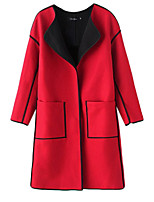 Women's Patchwork Red / Black Coat,Simple / Street chic Long Sleeve Polyester