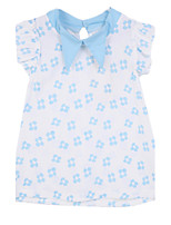Girl's Blue / White Clothing Set Cotton Summer