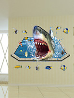 Shark Bottom Animals Wall Stickers 3D Wall Stickers or Surface Mount,PVC 90*60cm
