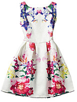 Girl's White Dress,Print Polyester Summer / Spring / Fall