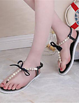 Women's Shoes Fabric Flat Heel Flip Flops Sandals Office & Career / Casual Black / White