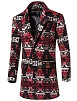 Men's Long Sleeve Long Trench coat,Wool Print