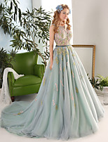Princess Wedding Dress-Sage Chapel Train Jewel Lace / Satin / Tulle
