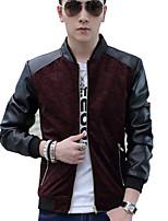 Men's Korean PU Color Block Slim Long Sleeve Jacket