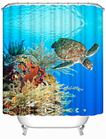 Modern Turtle Polyester Shower Curtains W71