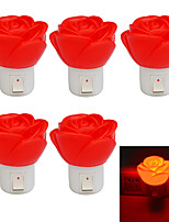 JIAWEN 1W Rose Shape 80lm Red LED Small Night Light (5PCS / AC 220V)