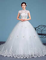 A-line Wedding Dress-White Court Train High Neck Lace / Tulle