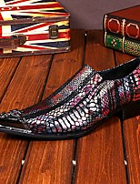 Men's Shoes Amir Pure Manual Snake Lines Stage Show Wedding / Evening Party Comfort Cowhide Leather Loafers