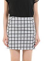 Boutique G Women's Check White Skirts,Casual / Day Above Knee