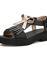 Women's Shoes Leatherette Low Heel Comfort Sandals Outdoor / Party & Evening / Dress / Casual Black / Pink