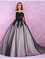 שמלת כלה -שחור (צבע וסגנון עלולים להיות שונים בין צגים) נסיכה שובל כנסיה-מחשוף לב-טול
